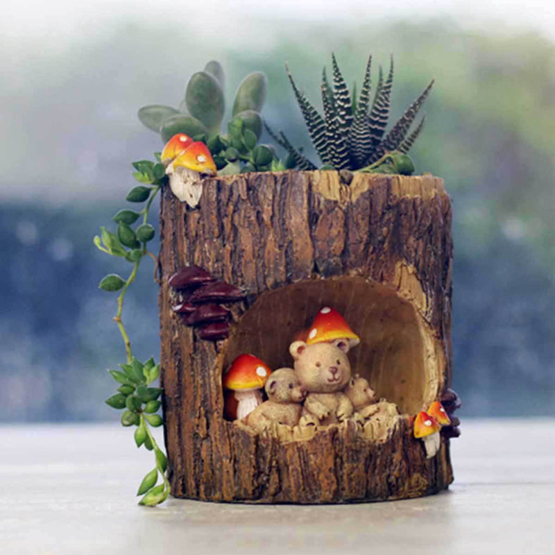 Cute Bear Family in Treehouse Resin Succulent Pot