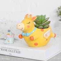 Cute Flying Giraffe Resin Succulent Pot