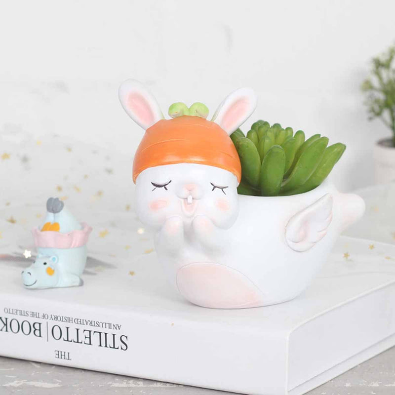 Cute Flying Rabbit Resin Succulent Pot