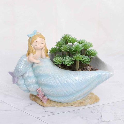 Cute Mermaid on Seashell Resin Succulent Pot