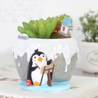 Cute Painting Penguin Resin Succulent Pot