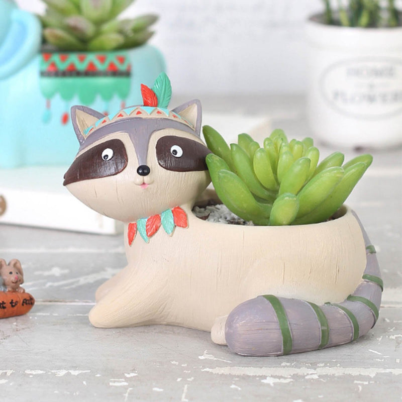 Cute Tribal Raccoon Succulent Pot