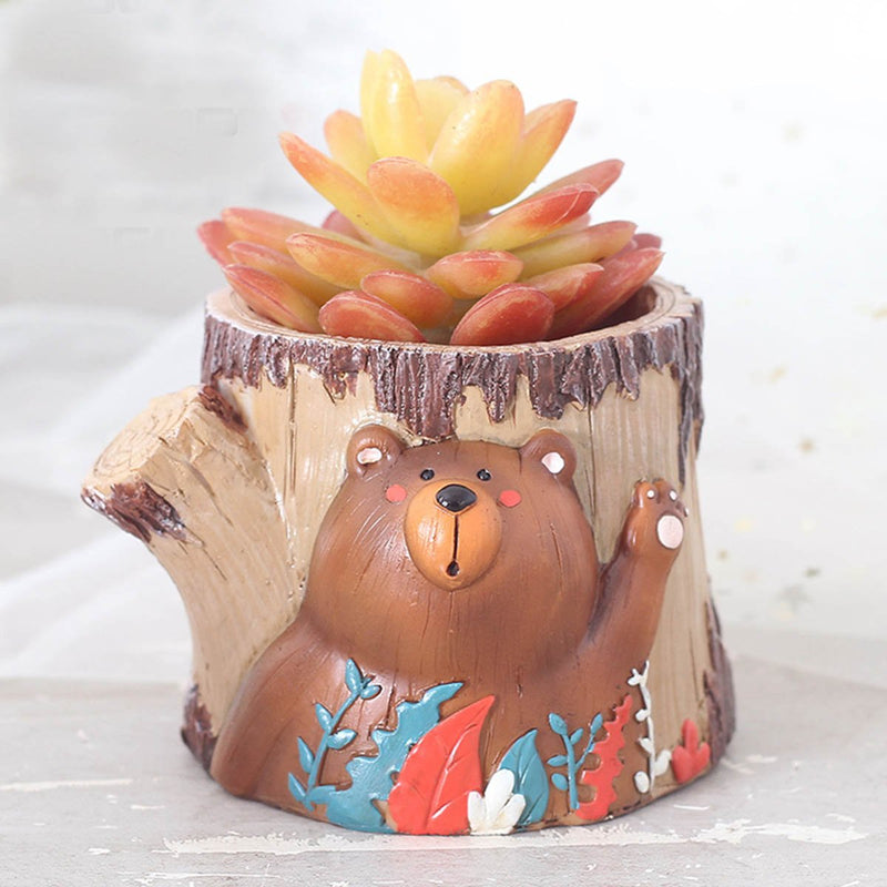 Cute Waving Bear Resin Succulent Pot