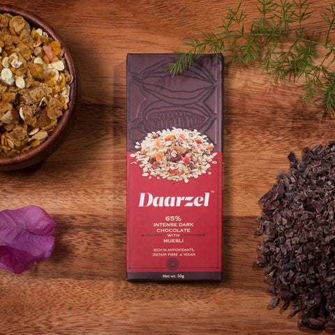 Dark Chocolate 65%  Cocoa Intense  with Muesli - Daarzel | Vegan