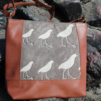 Dabu Print Faux Leather Dunnock Print Satchel (Matt Brown & Grey)