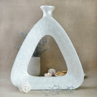 Handcrafted White Triangular Vase (10 Inches)