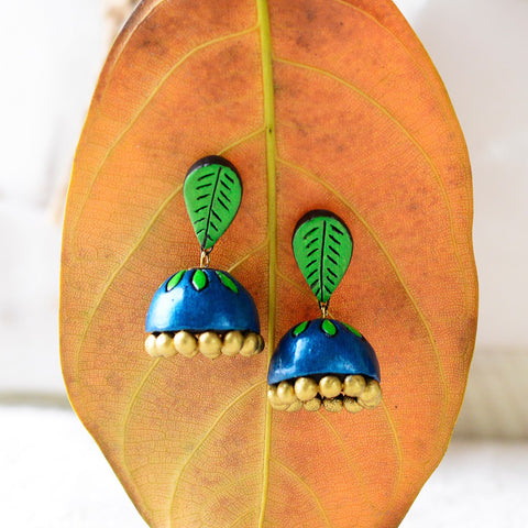 Eco-Friendly Parrot Green Terracotta Jhumka