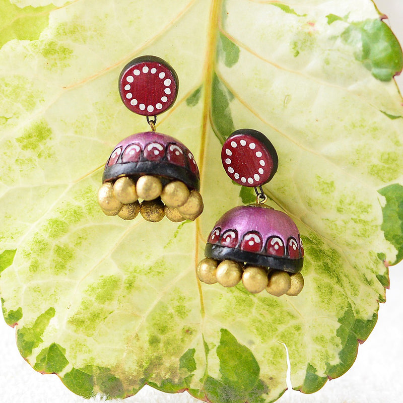 Eco-Friendly Pink Terracotta Jhumka