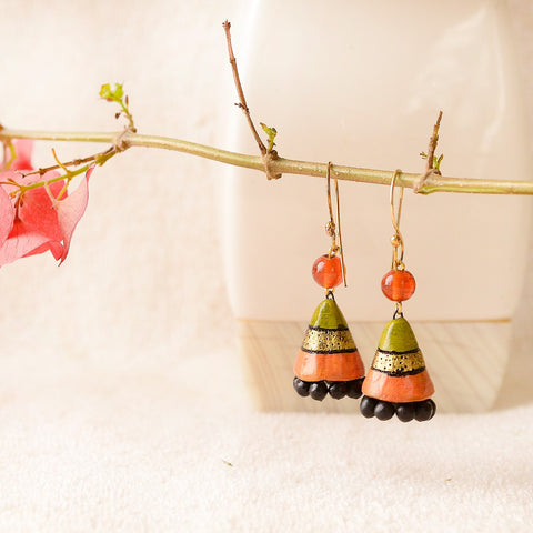 Eco-Friendly Green And Orange Terracotta Jhumka