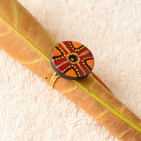 Eco-Friendly Maroon And Orange Terracotta Ring