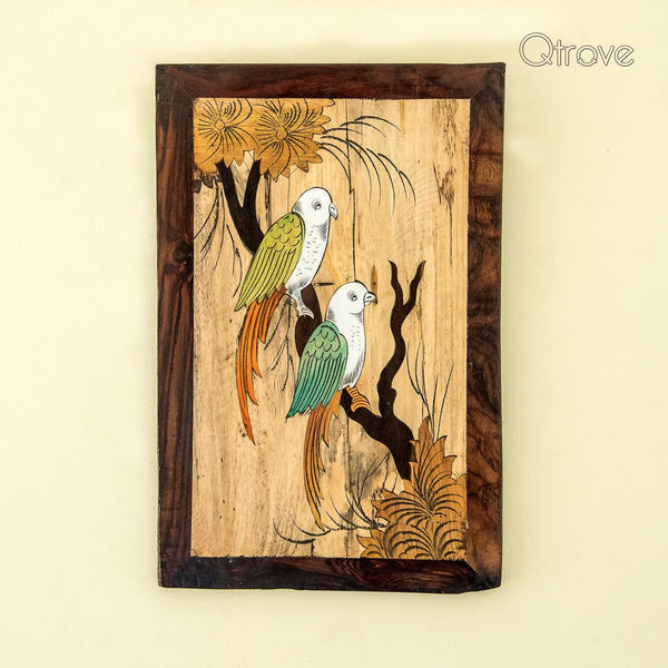 Handmade Rose Wood Parrot Wall Hanging