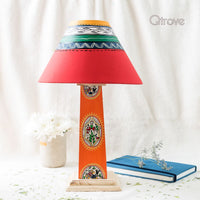 Handmade Warli Wooden Lamp - Orange