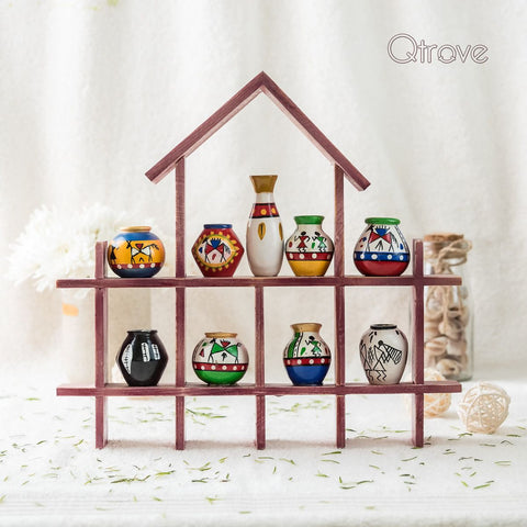 Hand Painted Wooden Wall Frame With 9 pots