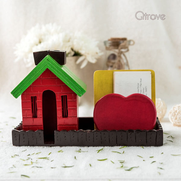 Handmade Hut Shaped Wooden Pen Stand