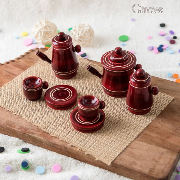 Handmade Red Wooden Toy Tea Set at Qtrove