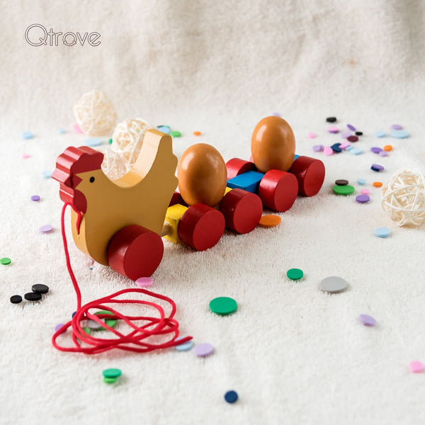 Handmade Wooden Hen with 2 Wooden Eggs