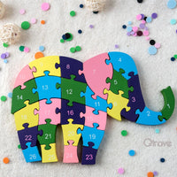 Wooden Elephant Numbers Block Puzzle