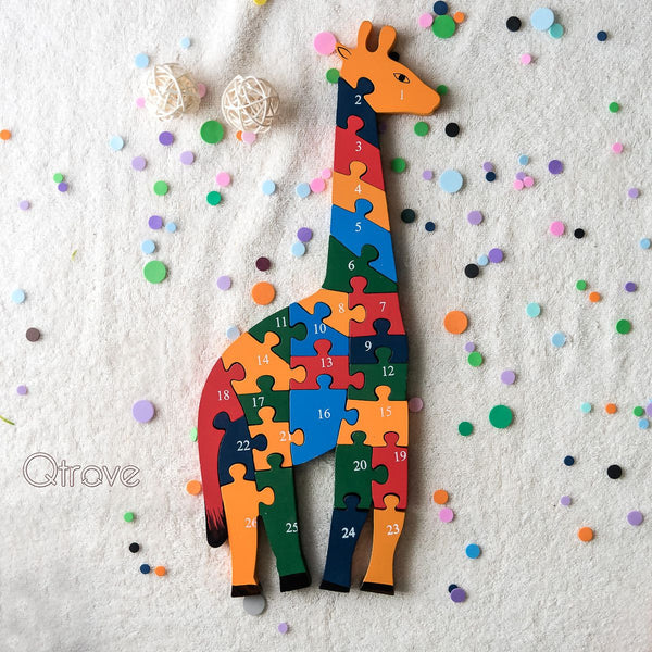 Handmade Wooden Giraffe Puzzle at Qtrove
