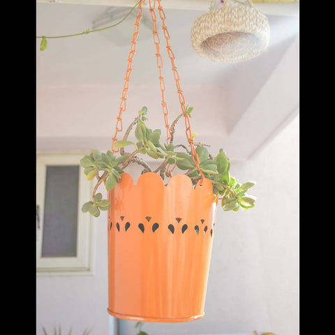 Orange Cut-Work Hanging Planter With Chain