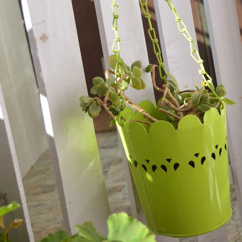 Green Cut-Work Hanging Planter With Chain