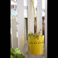 Yellow Cut-Work Hanging Planter With Chain