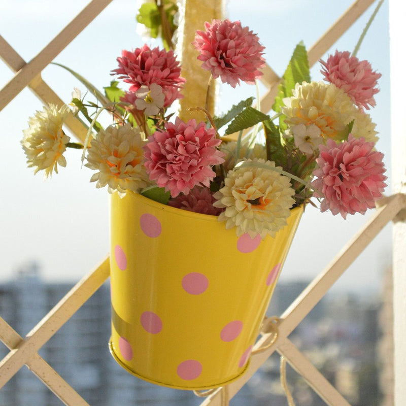 Round Railing Yellow Planter With Pink Polka Dots (5 inch)