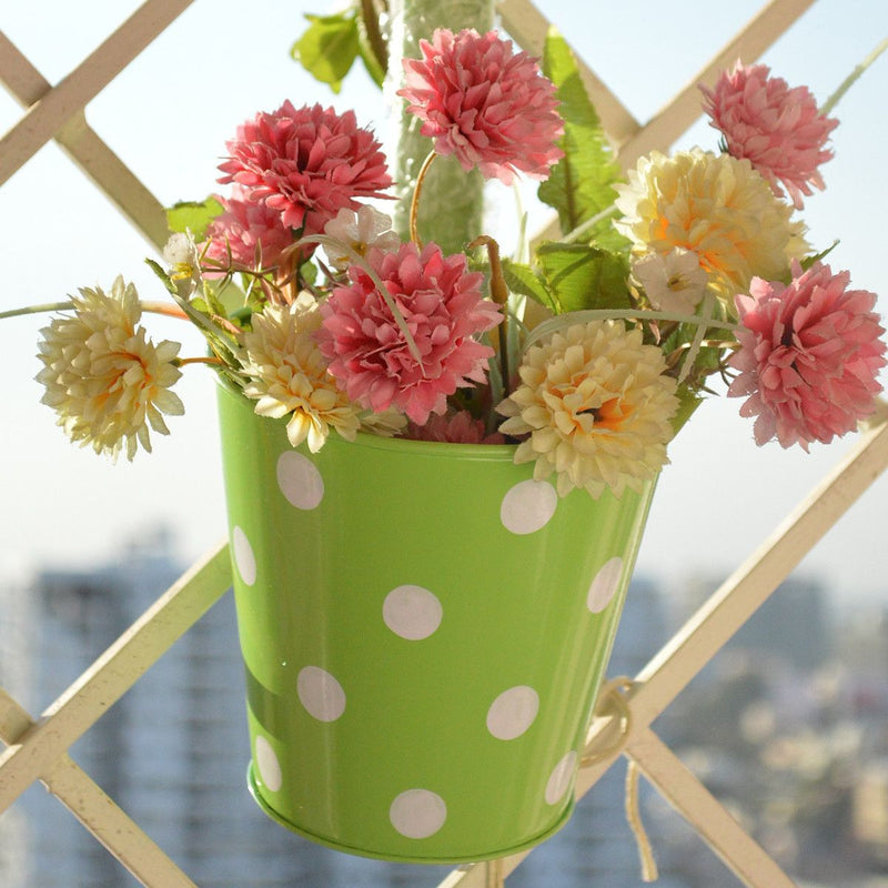 Round Railing Green Planter With White Polka Dots (5 inch)