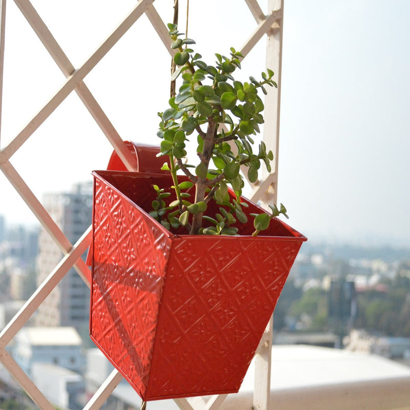 Embossed Square Red Railing Planters