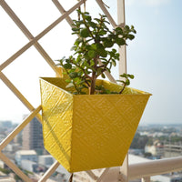 Embossed Square Yellow Railing Planters