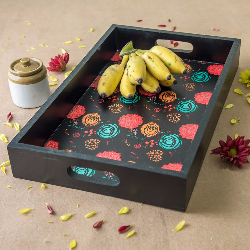 Shades Of Blossoms Serving Wooden Tray