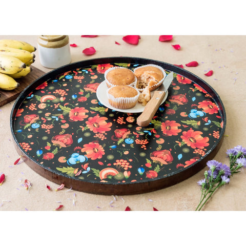 Handcrafted Marigold Round Tray