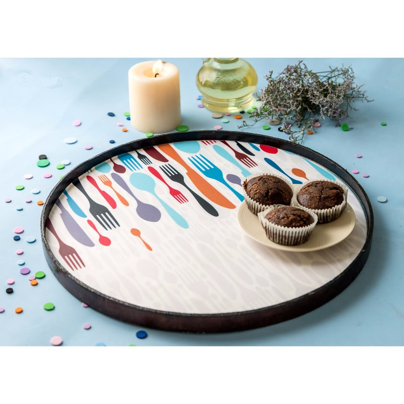 Handcrafted Service Round Tray