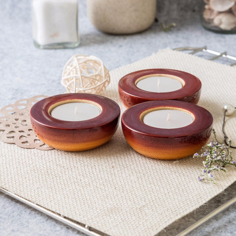 Wooden T-Light Diya Candle Holder