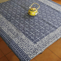 Dabu Print Grey Colour Hand Block Printed Cotton  6 Seater Dinning Table Cover