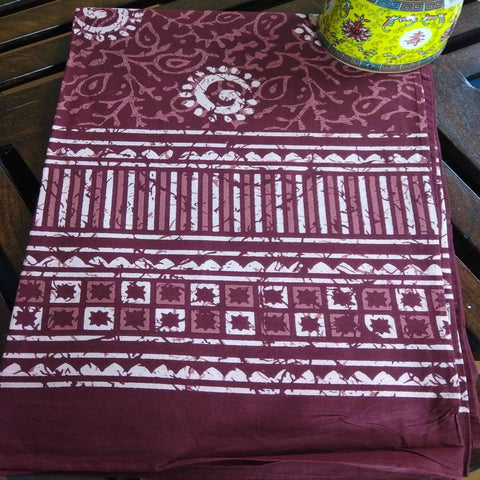 Dabu Print Mahroon Colour Hand Block Printed Cotton 6 Seater Dinning Table Cover
