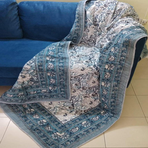 Dark Colour 100% Cotton Razai Printed With Natural Colour