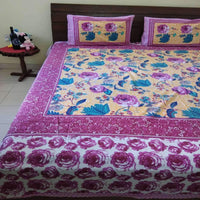 Dark Pink Colour Super King Size Bedsheet (2 Pillow Cover)