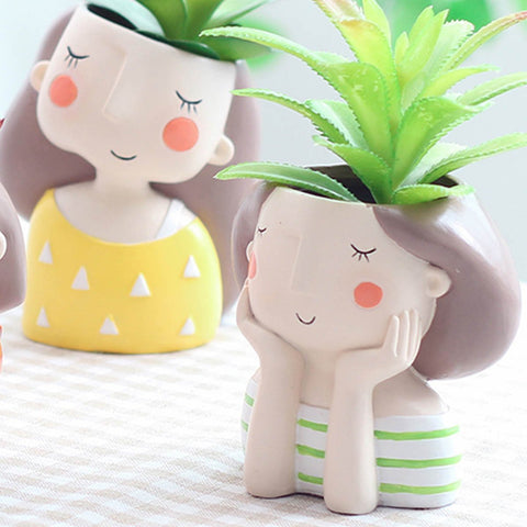Day Dreaming Girl Resin Succulent Pot