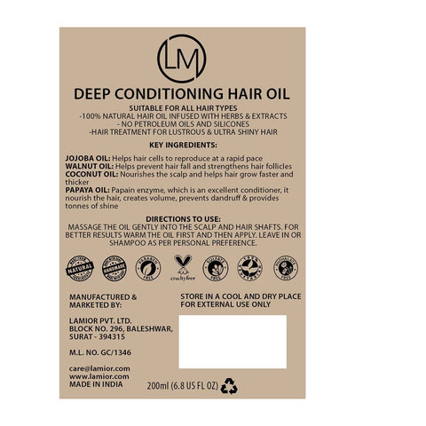 Deep Conditioning Hair Oil with Jojoba Oil, Walnut Oil & Brahmi Fruit