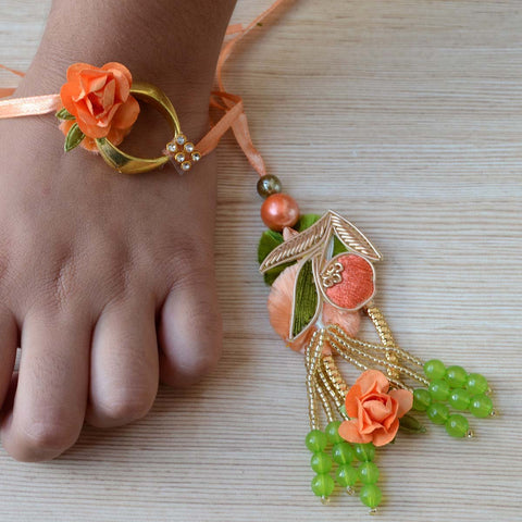 Designer Rakhi With Tikka (2 Rose Flower Lumba Rakhi and 1 Tikka Set)