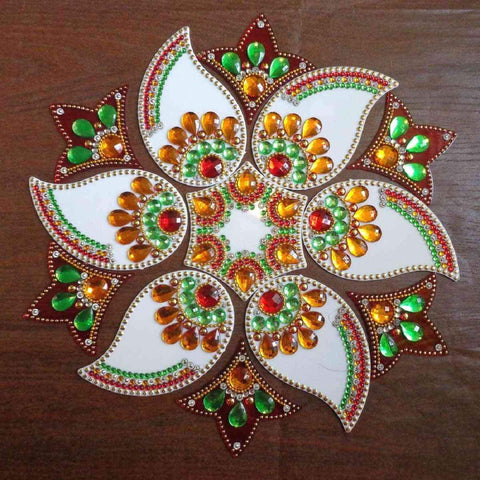 Designer White Mango and Red Leaves Flower Rangoli