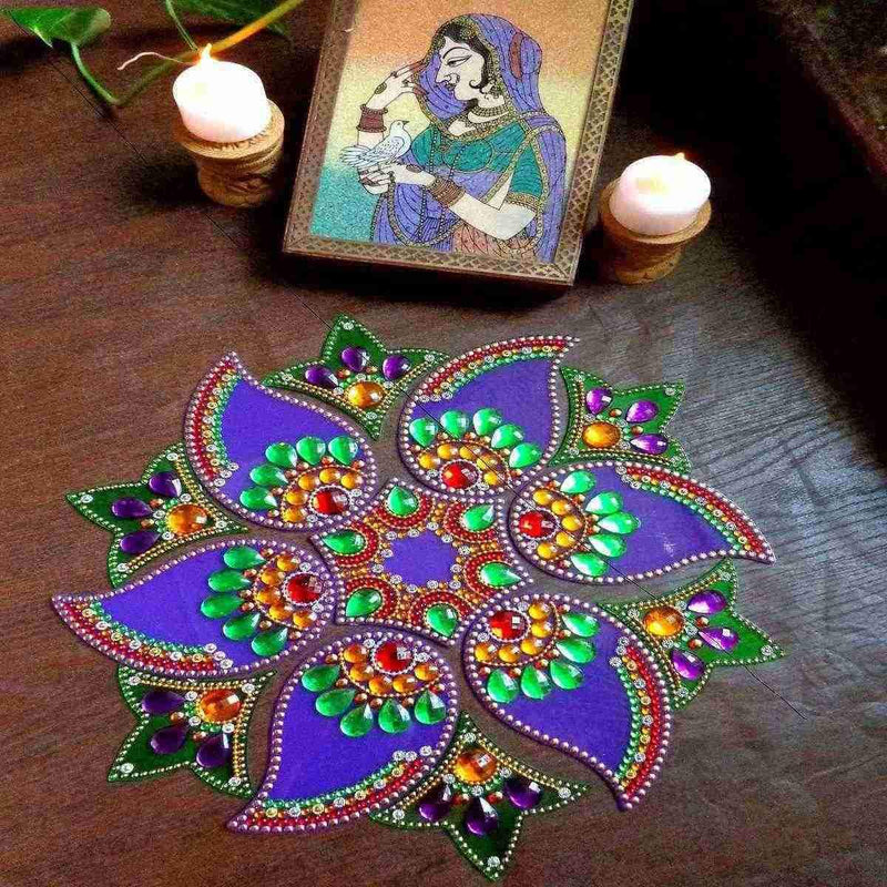 Designer  Mango Shaped – Purple and Green Rangoli