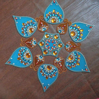 Designer Modak Shaped – Opaque Blue Modak and Yellow Ghada Rangoli