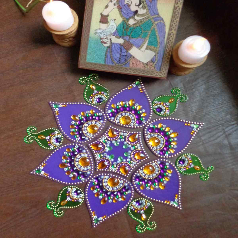 Designer  Purple Modak Shaped – Purple and Green Rangoli