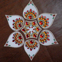Designer White Modak Shaped – White and Green Rangoli