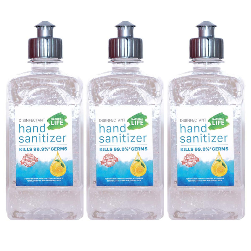 Disinfectant Hand Sanitizer (Citrus)- 3 x 500 ml (Square Bottles)