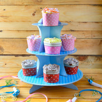 Polka Blue Cupcake Party Stand