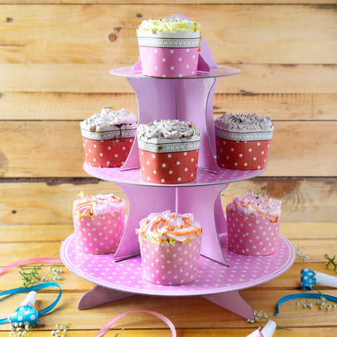 Polka Purple Cupcake Party Stand