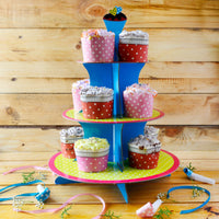 Blue And Yellow Cupcake Party Stand
