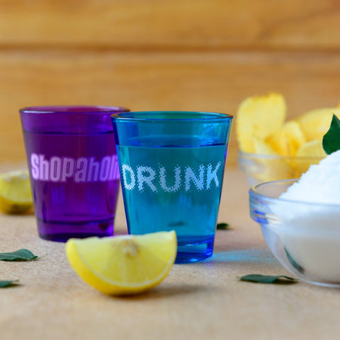 Drunk & Shopaholic shot glasses